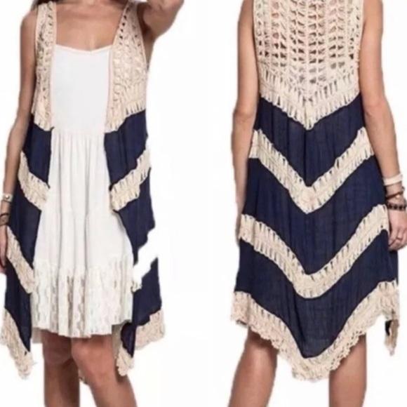 NWT Boho Long Cardigan Vest Duster Crochet Small S